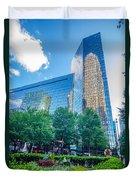 Skyline And City Streets Of Charlotte North Carolina Usa Duvet Cover