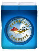 1958 Chevrolet Corvette Emblem Duvet Cover