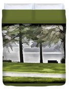 A Bench And Path On The Shore Of Loch Ness In Scotland Duvet Cover