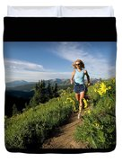 A Couple Trail Running Duvet Cover