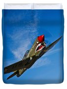 A Curtiss P-40e Warhawk In Flight Duvet Cover