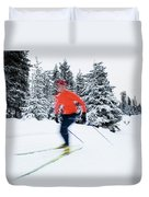 A Young Woman Cross-country Skiing Duvet Cover
