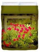 Fence Line Flowers Duvet Cover