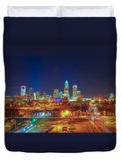 Charlotte City Skyline Night Scene Duvet Cover