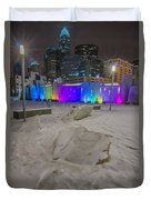 Charlotte Queen City Skyline Near Romare Bearden Park In Winter Snow Duvet Cover