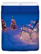 Christmas Lights On Trees And Lawn Chair Duvet Cover