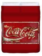 Coca Cola Sign Cracked Paint Duvet Cover