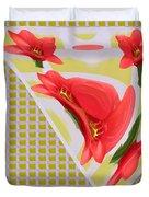 Dancing Tulip Red Exotic Flower Petal Based Wave Pattern  Created By Navinjoshi Reiki Healing Master Duvet Cover