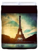 Eiffel Tower In Paris Fance In Retro Style Duvet Cover