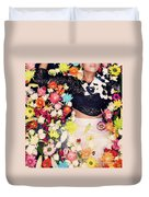 Fashion Model Posing With Flowers Duvet Cover