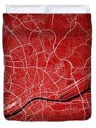 Frankfurt Street Map - Frankfurt Germany Road Map Art On Colored Duvet Cover