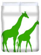 Giraffe In Green And White Duvet Cover