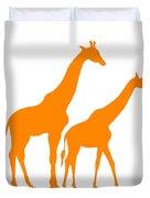 Giraffe In Orange And White Duvet Cover