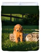 Golden Retriever Puppies Duvet Cover by Linda Freshwaters Arndt