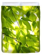 Green Spring Leaves Duvet Cover by Elena Elisseeva