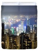 Hong Kong Harbor From Victoria Peak At Night Duvet Cover
