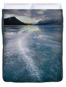Ice Pattern On Frozen Abraham Lake Duvet Cover