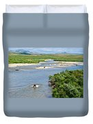 4-lay Of The Land Many Grizzly Bears In Moraine River In Katmai National Duvet Cover