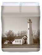 Lighthouse - Sturgeon Point Michigan Duvet Cover