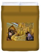 4 M Tall Sitting Buddha With Thick Layer Of Golden Leaves In Mahamuni Pagoda Mandalay Myanmar Duvet Cover