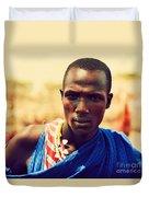 Maasai Man Portrait In Tanzania Duvet Cover