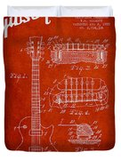 Mccarty Gibson Les Paul Guitar Patent Drawing From 1955 - Red Duvet Cover