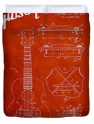 Mccarty Gibson Stringed Instrument Patent Drawing From 1969 - Red Duvet Cover by Aged Pixel