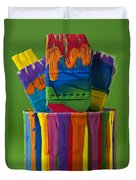 Multicolored Paint Can With Brushes Duvet Cover