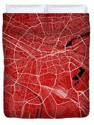 Nuremberg Street Map - Nuremberg Germany Road Map Art On Colored Duvet Cover