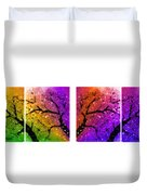 4-panel Snow On The Colorful Cherry Blossom Trees Duvet Cover