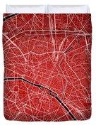 Paris Street Map - Paris France Road Map Art On Colored Backgrou Duvet Cover