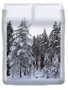 Pine Forest Winter Duvet Cover