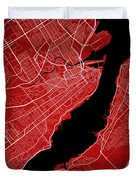 Quebec City Street Map - Quebec City Canada Road Map Art On Colo Duvet Cover