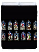 Religious Stained Glass Windows Duvet Cover