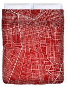 Santiago Street Map - Santiago Chile Road Map Art On Colored Bac Duvet Cover