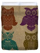 4 Sophisticated Owls Colored Duvet Cover