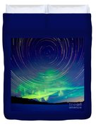 Star Trails And Northern Lights In Night Sky Duvet Cover