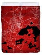 Sudbury Street Map - Sudbury Canada Road Map Art On Colored Back Duvet Cover