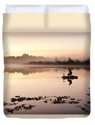 Sunrise In Fog Lake Cassidy With Fishermen In Small Fishing Boat Duvet Cover