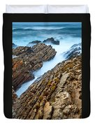The Jagged Rocks And Cliffs Of Montana De Oro State Park In California Duvet Cover