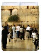 Praying At The Western Wall Duvet Cover