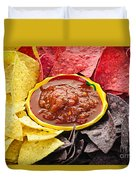 Tortilla Chips And Salsa Duvet Cover by Elena Elisseeva