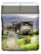 Tourists And The Path At Ruins Of The Urquhart Castle Duvet Cover