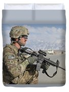 U.s. Army Specialist Provides Security Duvet Cover