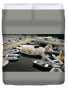 View Of Boats At A Harbor, Rockland Duvet Cover