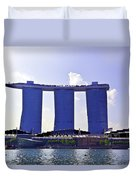 View Of The Towers Of The Marina Bay Sands In Singapore Duvet Cover