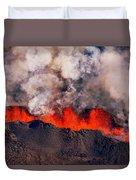 Volcano Eruption At The Holuhraun Duvet Cover