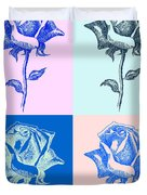 4 Warhol Roses By Punt Duvet Cover