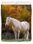 White Horse In Autumn Duvet Cover