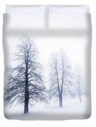 Winter Trees In Fog Duvet Cover